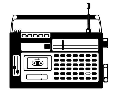 vector cassette recorder on white background Illustration