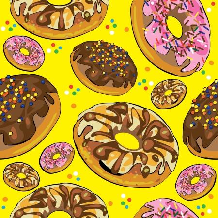 застекленный: бесшовные модели пончиков на желтом фоне