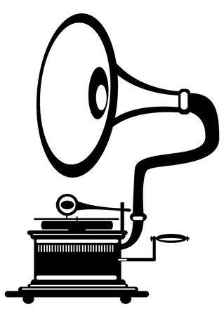 vector retro gramophone on white background Vector