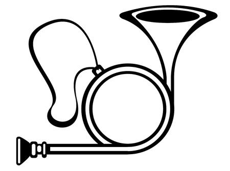 flugelhorn: vector traditional hunting horn on white background  Illustration