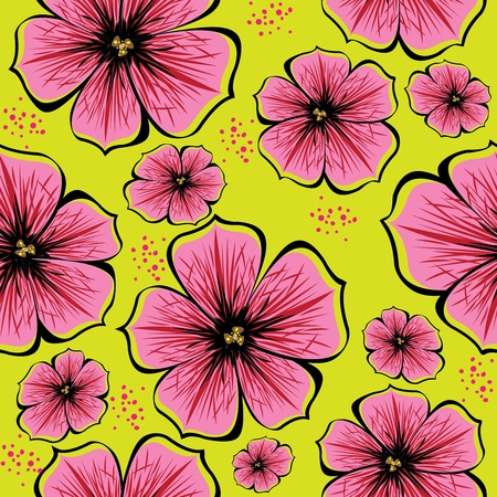 seamless pattern of red vector petunias on green background