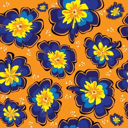 primrose: seamless pattern of blue vector primrose on orange background