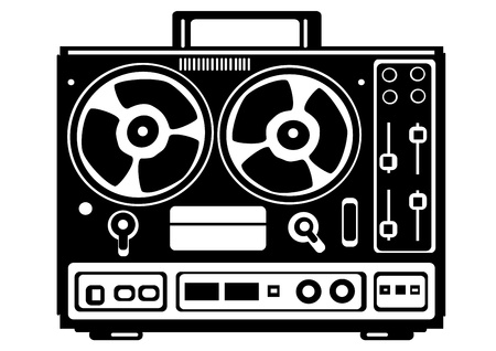magnetofon: wektor magnetofon kołowrotek na białym tle
