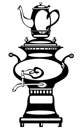 vector illustration samovar on white background Vector