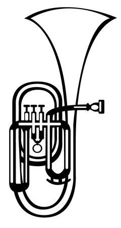 alto:  vector illustration tuba alto horn on white background