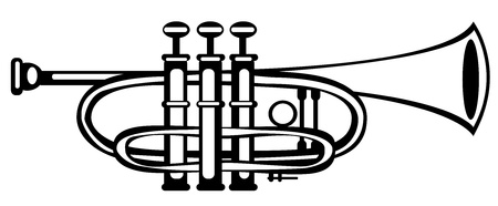 cornet: vector illustration tuba cornet on white background