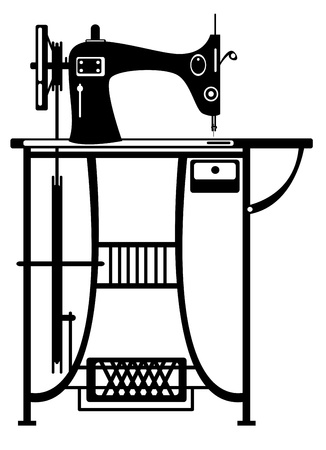 textile machine: vector sewing machine on white background