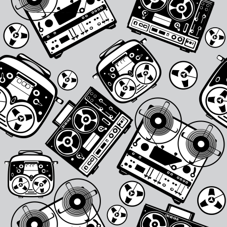 seamless reel tape recorder pattern Vector