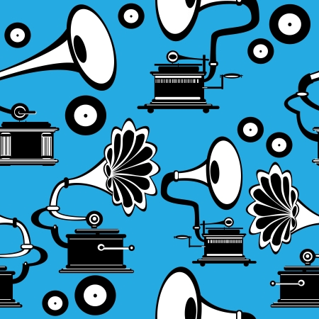 seamless retro gramophone on blue background Vector