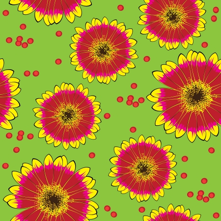 seamless yellow-red gerbera pattern Vector