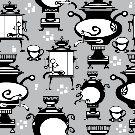 seamless illustration samovar on gray background Vector