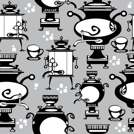 seamless illustration samovar on gray background Illustration