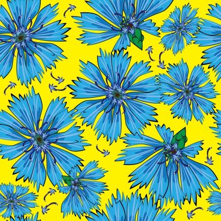 seamless pattern blue cornflower flowers