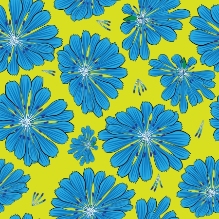 seamless pattern blue cornflower flowers  Vector