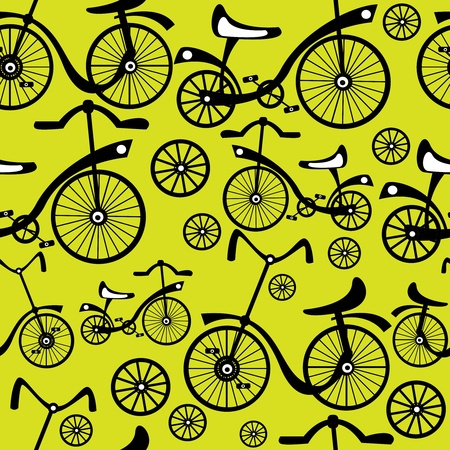 seamless pattern retro bicycle  Vector