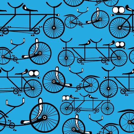seamless pattern retro bicycle