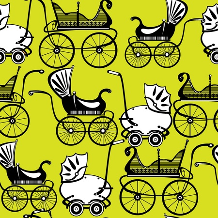 baby stroller: seamless pattern retro buggy on green background