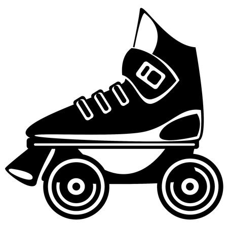 schaatsen: rolschaats op witte achtergrond Stock Illustratie