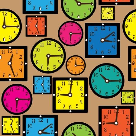 seamless pattern multicolor clock