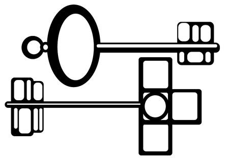 keys isolated: llaves aisladas sobre fondo blanco Vectores