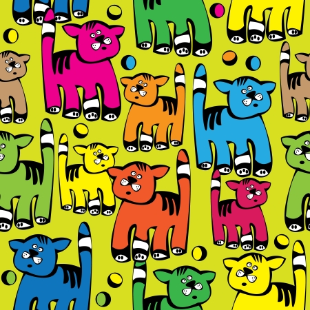 seamless pattern multicolored cat  Vector