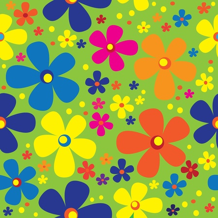 seamless pattern multicolor chamomile Vector