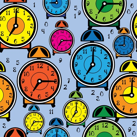 seamless pattern multicolor alarm clock Vector