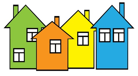 colored houses set Vector