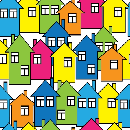 seamless pattern colored houses  Vector