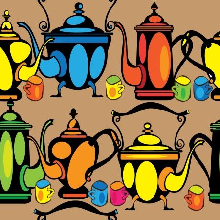 seamless pattern multicolor teapot  Illustration