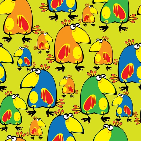 seamless pattern parrots Vector