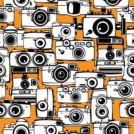 seamless pattern vintage film photo cameras  Vector