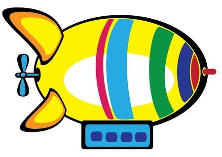 colored airship on white background