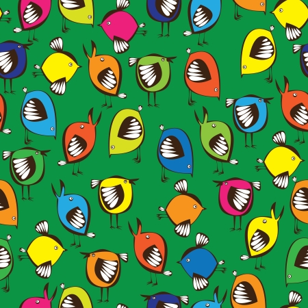 seamless pattern colored birds  Vector