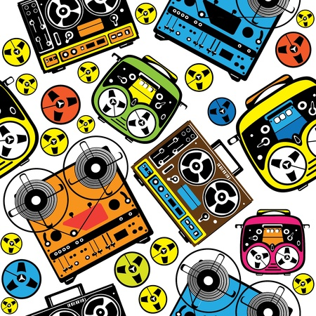 seamless pattern colored reel tape recorder Vector