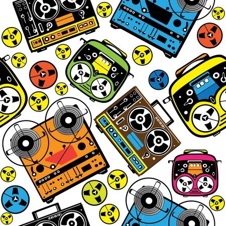 magnetofon: wzór bez szwu kolorowy magnetofon kołowrotek