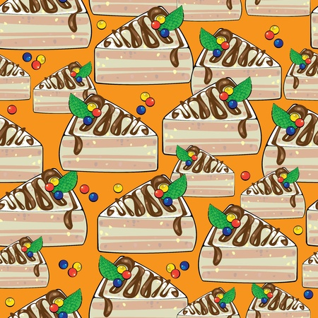 seamless pattern cake on orange background Vector