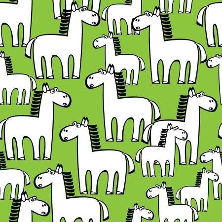 seamless pattern white horse