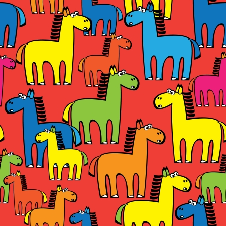 seamless pattern colored horse Illustration