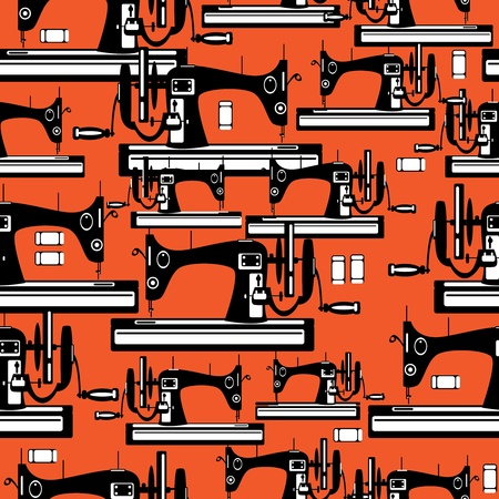 seamless pattern sewing machine  Vector