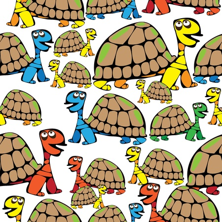 seamless pattern colored turtle Vector