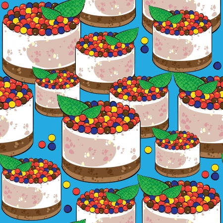 seamless pattern cake on blue background Vector