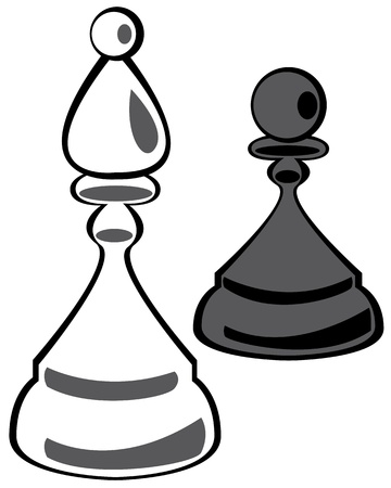 chess pawn and knight on white background Illustration