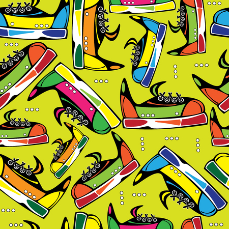 seamless pattern colored youth shoes  Vector
