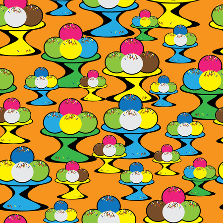 seamless pattern colored ice cream Vector