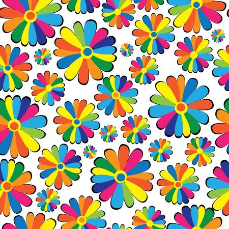 seamless pattern multicolor chamomile