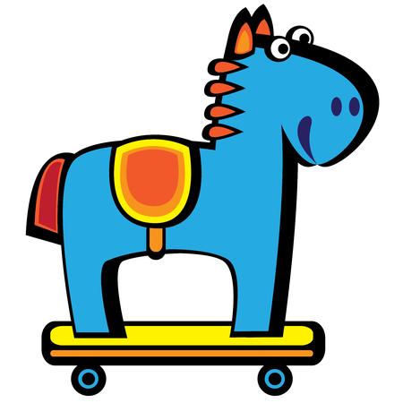 blue horse on wheels isolated on white background Illustration