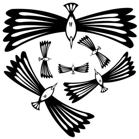 birds flying  isolated on white background Illustration