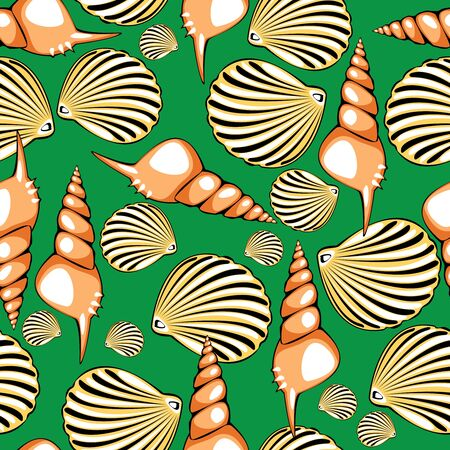shells on green background seamless illustration Vector