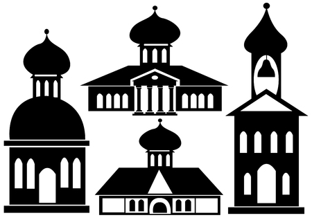 churches icon set isolated on white background Vector